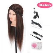 Beauty Star 46cm 60% Real Long Hair Cosmetology Mannequin Manikin Training Head Model with Clamp