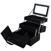 SONGMICS Portable Makeup Train Case Alumi Cosmetic Organiser Box with Mirror Black UMUC11B