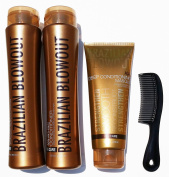 Brazilian Blowout Procare Trio Acai Anti-Frizz Shampoo & Conditioner 350ml bottles and Masque 240ml with FREE shower comb