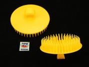 2 Pcs 8.9cm Dia Round Scalp Head Massage Shampoo Brushes Yellow