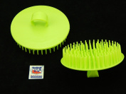 2 Pcs 8.9cm Dia Round Scalp Head Massage Shampoo Brushes Green