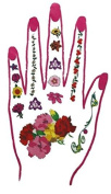 Henna Hand Tattoo with Pink Nails and Flowers