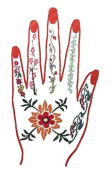 Temporary Hand Tattoo with Flowers and Red Nails