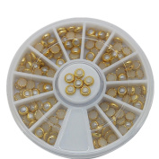 4x4mm Round Pearl With Gold Tape Nail Art Decorations