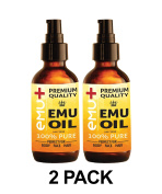 """Premium Quality Emu Oil for Hair Growth, Grade """"A"""" Australian Emu Oil for Face, for Body, 100% Pure - Amazing Natural Remedy - Set of Two, 120ml Bottles."""