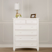 Evolur Fairbanks 6 Drawers Dresser, Winter White