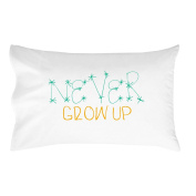 Oh, Susannah Never Grow up Pillow Case for Kids Turquoise and Yellow