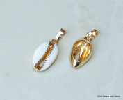 Gold Plated Cowrie Shell Pendant - Natural Sea Shell - Cowrie Shell Pendant - Money Shell - Seashell - Gold Plated - Shell Pendant. 20-25mm