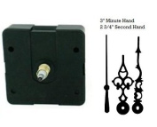 Quartex Quartz Clock Movement Kit with 7.6cm Black serpentine Hands for Dials up to 0.6cm thick