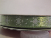 Celebrate It *Green Satin with Snowflakes* Holiday Ribbon