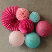 SUNBEAUTY Pack of 7 Fuchsia Baby Pink Blue Series Paper Crafts Paper Honeycomb Balls Fan Lanterns Paper Pom Poms for Birthday Wedding Party Decoration