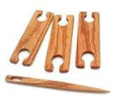 Oak 4 Piece 10cm long x 3.8cm inkle loom weaving stick shuttles