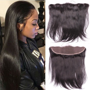Sunwell Ear to Ear Full Lace Frontal Closure Silky Straight 33cm x 10cm Bleached Knots with Baby Hair In Front Virgin Brazilian Human Hair Lace Frontal Closure, Natural Colour, 36cm