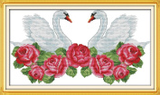 Joy Sunday® Cross Stitch Kit 11CT Stamped Embroidery Kits Precise Printed Needlework- Heart matched swan 55×34CM