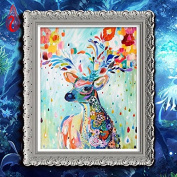 YGS-135 DIY Full Diamonds Embroidery Auspicious Colourful Deer Round Diamond Painting Cross Stitch Kits Diamond Mosaic Home Décor
