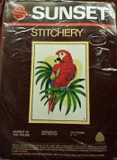 Parrot in The Palms ~ Sunset Designs Needlepoint kit # 493