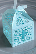 12 pc blue cross laser cut wedding bridal favour box christening baby shower / baptism favour gift box/religious gift box 8.9cm x 6.4cm x 8.9cm