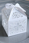12 pc white cross laser cut wedding bridal favour box christening baby shower / baptism favour gift box/religious gift box 8.9cm x 6.4cm x 8.9cm