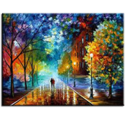 Rihe Paint By Numbers Kits Mounted on Wood Frame with Brushes and Paints for Adults Children Seniors Junior DIY Beginner Level Acrylics Painting Kits on Canvas-Romantic Street 16*50cm