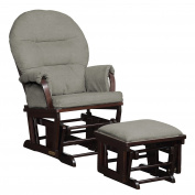 Shermag Contemporary Style Rocker and Ottoman Glider, Espresso with Grey