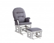 Shermag Contemporary Style Rocker and Ottoman Glider, White with Grey