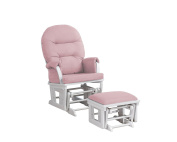 Shermag Contemporary Style Rocker and Ottoman Glider, White with Pickwick Pink