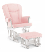 Shermag Stanton Transitional Style Rocker and Ottoman Glider, White with Pickwick Pink
