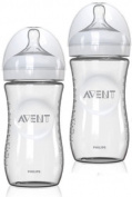2 Pack Philips AVENT 240ml BPA Free Natural Glass Baby Bottles