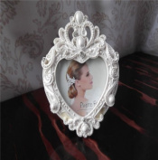 Picture Frame Resin White Heart-shaped Retro Classic Desk With Pearl & Crystal For Wedding Gift Home Decor 1 Pcs