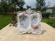 Picture Frame Resin Double Photo Victorian Rose Vintage Style With Pearl For Wedding Gift Home Decor 1 Pcs