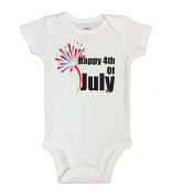 """Cute Patriotic Baby Onesie """"Happy 4th of July"""" RB Clothing Co"""