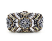 Hong123 Womens Luxury Special Crystals Beaded Pearl Clutch Bag