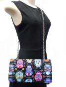 """US HANDMADE FASHION EVENING BAG WITH CHAIN-STRAP WITH """"DE COLORES SUGAR SKULLS"""" PATTERN SHOULDER BAG,COTTON, EVCL 1051"""