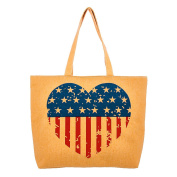 Women's Decorative Floral Heart Vintage American Flag Tote Bag