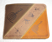 New in Box Peru Handmade Genuine Leather Beige and Yellow Nazca Lines Wallet