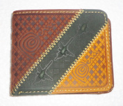 New in Box Peru Handmade Genuine Leather Brown and Yellow Nazca Lines Wallet