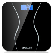 Digital Bathroom Scale, GDEALER 400lb/180kg Body Weight Bathroom Scale, Elegant Black 6mm Tempered Glass, Step-On Technology, High Precision, Extra Large Lighted Display