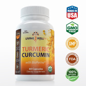 650mg Turmeric Curcumin with BioPerine (Black Pepper) Supplement Anti-Inflammatory, Antioxidant, Anti-Ageing and Pain/Joint Support. 100% All Natural & Non-GMO. 60 Veggie Capsules.