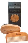 Antistatic Beard Comb - No Fuss Durable Beard Comb & Brush Kit - Essential Male Grooming Aid