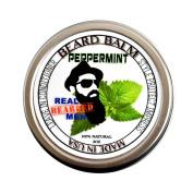 REAL BEARDED MEN 100% Natural Premium Beard Balm 60ml - PEPPERMINT - Made in USA