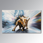 Winpeak Art Handmade Canvas Wall Art Modern Contemporary Oil painting Wll Street Bull Abstract Artwork Decor Hanging Framed Ready to Hang