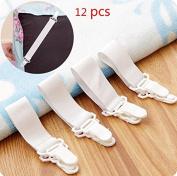 BeautyMood 12Pcs Adjustable Bed Sheet Gripper clip holder-bed Sheet Fasteners Suspenders-Bed Sheet Holder