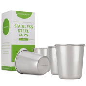 Stainless Steel Cups for Kids and Toddlers - Set of Four 240ml BPA Free Cups - by HumanCentric