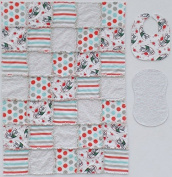 Iconic COCA-COLA print with Coordinating Grey, Red and Aqua Accent Fabrics Baby Rag Quilt with Matching Burp Cloth and Bib