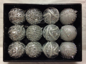 Snow White Branded Pack of 12 Deluxe Silver 8cm Christmas Tree Baubles