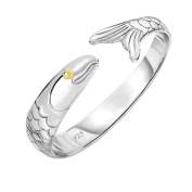 Cape Cod Jewellery Solid 925 Sterling Silver and 14k Gold Plated Cod Fish Cuff Bracelet