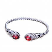 Sterling Silver Cable Bracelet with Garnet Open Adjustable Cuff Bangle