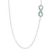 Infinity Necklace with Aqua. Crystals in Sterling Silver