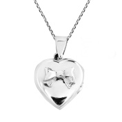 Adorable Valentine Bow on Heart Locket Pendant Sterling Silver .925 Necklace