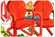 Red Chairs Patio View Glass Cutting Board Large 6140LCB